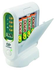 Batterioplader, t/AA & AAA-batterier, 4 stk