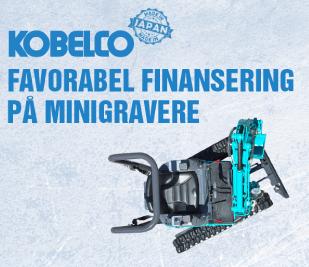 Billig finansiering af Kobelco minigravere, her i blandt, 1 tons, 1,7 tons og 1,8 tons